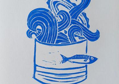 Fertiger Linoldruck: 3 Sardinas Serie aus 3 Motiven, hier Motiv 1, im Linoldruck/Kunstdruck mit Fischen/Sardinen