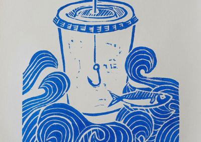 Fertiger Linoldruck: 3 Sardinas Serie aus 3 Motiven, hier Motiv 2, im Linoldruck/Kunstdruck mit Fischen/Sardinen