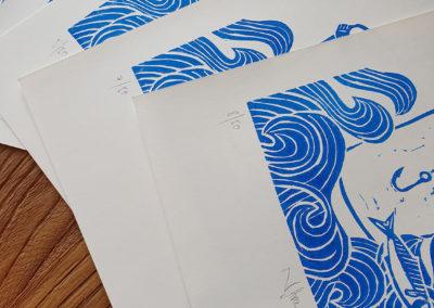 Auszug aus Auflage: 3 Sardinas Serie aus 3 Motiven im Linoldruck/Kunstdruck mit Fischen/Sardinen