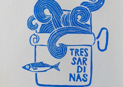 Fertiger Linoldruck: 3 Sardinas Serie aus 3 Motiven, hier Motiv 3, im Linoldruck/Kunstdruck mit Fischen/Sardinen