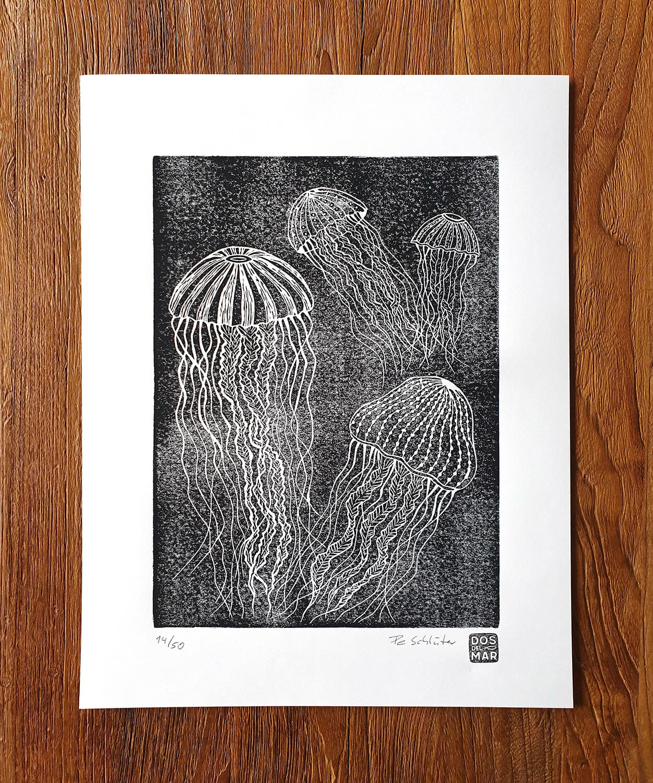 Fertiger Linoldruck: Quallen für Linoldruck/Kunstdruck mit Tiefsee Meeres Motiv
