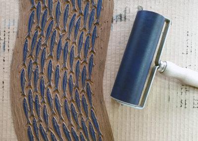 Linolplatte, Druckwalze: Sardinenschwarm, Fische, Sardinen, Meer
