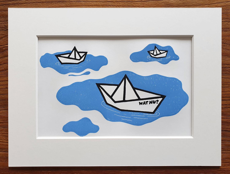 Fertiger Linoldruck: Elefant am Meer für Linoldruck/Kunstdruck mit Palme und Sonnenuntergang